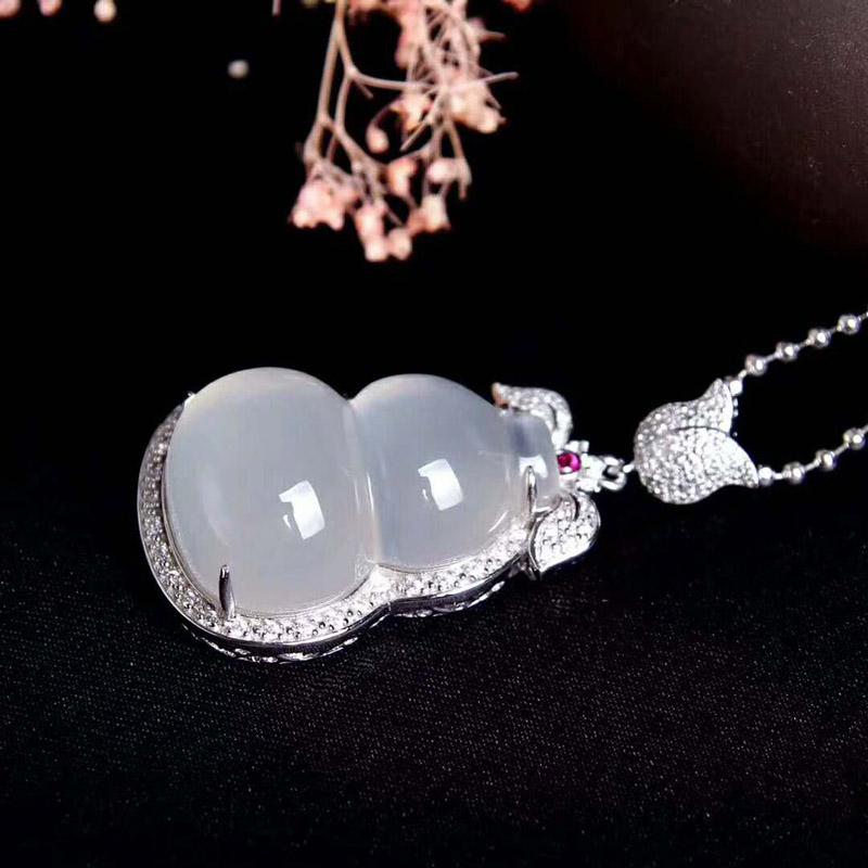 玉髓玛瑙立体葫芦项链玉石吊坠s925银