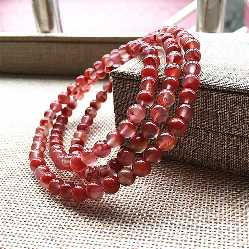 天然南红玛瑙柿子玫瑰红冰飘开光108颗佛珠手串手链项链多圈