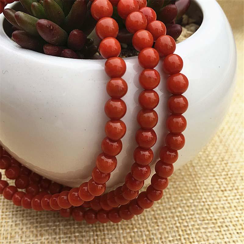 天然南红玛瑙四川凉山九口料满色满肉纯色柿子红锦红佛珠手串手链