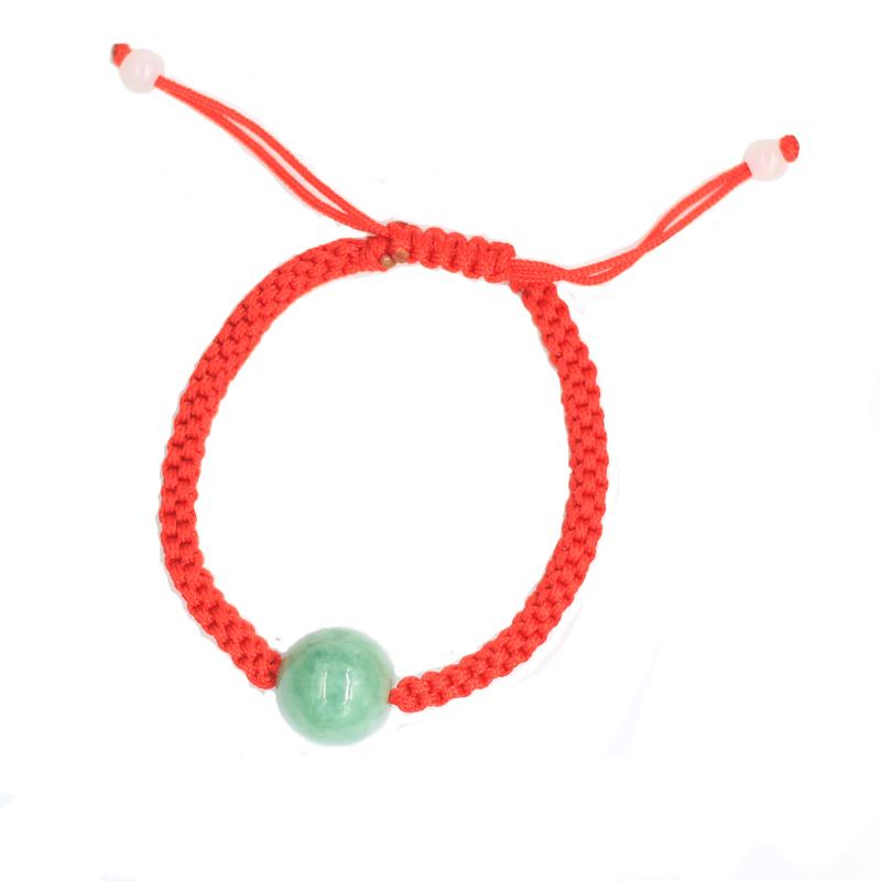 红绳转运珠手链玉男女情侣款手工编织简约手串饰品本命年开运手绳