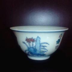 大众古玩   釉上彩小杯一个    奇趣收藏摆件
