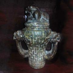 大众古玩    元代玉器双耳兽头一尊     奇趣收藏摆件