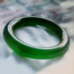 大种古玩,翡翠纯绿冰种手镯