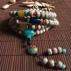 天然星月菩提!星月菩提手串 尺寸9-7mm,配蜜蜡桶珠,青金石桶珠,天河石三通,原矿绿松。