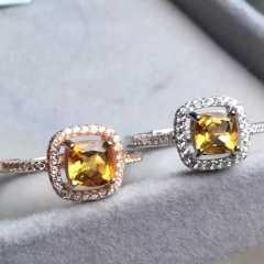 雅娜珠宝   黄水晶戒指   主石6.5mm