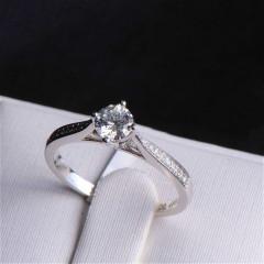 唐婉珠宝18K金钻石戒指 金重2.34g 主石重0.40ct(克拉)净度SI1 / F 钻石