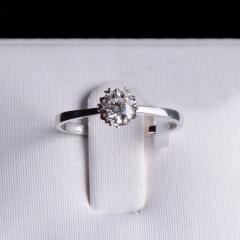 唐婉珠宝18K金钻石戒指  金重1.48g 主石重0.36ct(克拉)净度VS1/F 钻石
