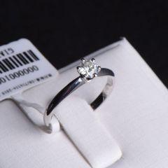 唐婉珠宝18K金钻石戒指  金重1.88g 主石重0.30ct(克拉)净度VVS2/H 钻石