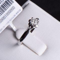 唐婉珠宝18K金钻石戒指  金重1.85g 主石重0.30ct(克拉)净度VVS2/G 钻石