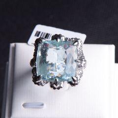 唐婉珠宝  18K金海宝蓝戒指   重量30.98g   戒指