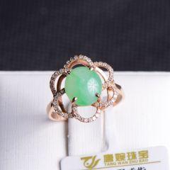 唐婉珠宝  18K金翡翠戒指  重量3.37g   翡翠戒指