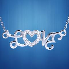 """石在爱""""LOVE""""套链S925纯银送女友情人节礼物,批发,厂家直销"""