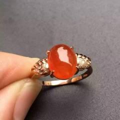 銘玉堂珠宝批发  红翡戒指,完美无瑕,色泽艳丽,特价