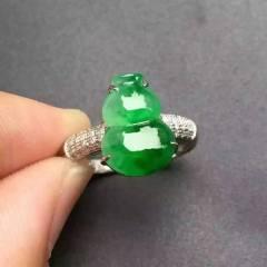 銘玉堂珠宝批发  满绿葫芦戒指,完美饱满,种好色辣,特价