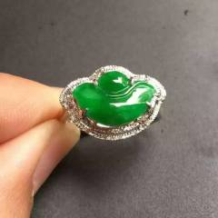 銘玉堂珠宝批发  翡翠戒指 满绿元宝戒指,完美无瑕,种好色辣