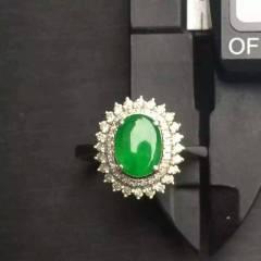 銘玉堂珠寶批發  辣綠戒指   完美無裂  種好色辣   重金豪鑲