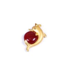 金榕珠寶 3D硬金鑲嵌吊墜  海豚 2.63g