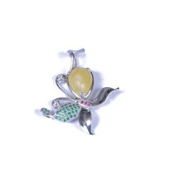 恒远珠宝 S925琥珀挂件(配石:钻石、红宝石)