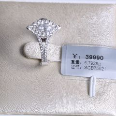 诚信钻石工坊18K钻石戒指主钻0.74克拉FG-VVS 配钻0.62克拉重量5.7928g