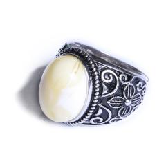 如心阁 藏式做旧白蜜蜡戒指  925纯银