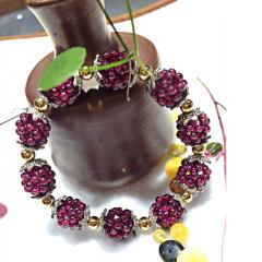 如玉阁 紫牙乌石 榴石编制搭配纯银手链