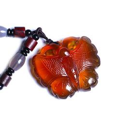 天然缅甸琥珀 黄金珠宝 蝴蝶吊坠 23.6g  棕色无杂 镂空雕刻