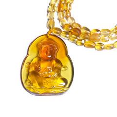 天然缅甸琥珀 黄金珠宝 观音吊坠 42.2g