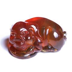 天然缅甸琥珀 黄金珠宝 猪摆件 69.6g
