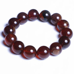 天然缅甸琥珀 黄金珠宝 棕红1.6手串 31.7g