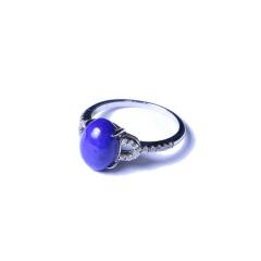 海龙琥珀 青金戒指 7.5*10 戒面活口