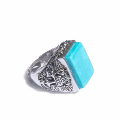 唐人文玩  绿松石戒指(男款)戒面18*13.5mm