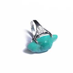 唐人文玩  绿松石戒指(女款)戒面8*13mm