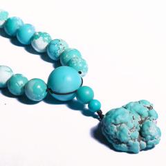 唐人文玩  绿松石项链+原石随型吊坠 0.9圆珠 重量60.16g