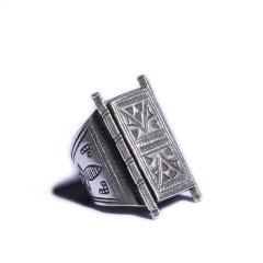 静玉轩 手工纯银戒指  规格31*21*1  重量14.30g  白银戒指