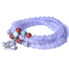 多宝阁 天然紫水晶手链 珠子6mm