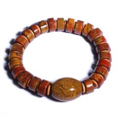 缘木醒石  精品战国红算盘珠手链  规格13mm算盘珠  重量约55g  黄金珠宝玉器战国红
