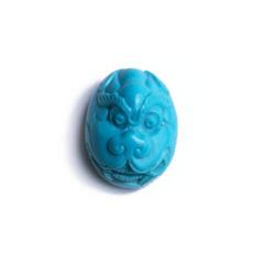 一品珠宝 绿松雕刻戒面 尺寸17*13*1 重量3.1g