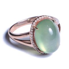 美尚珠宝  葡萄石18k金镶嵌戒指  15寸