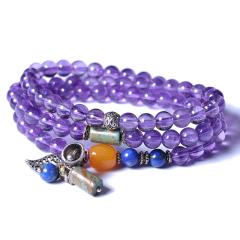 淵緣堂 紫水晶三圈手串 6.5mm
