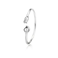 银手镯s999足银手镯纯银女长相思玫瑰光面细圈圆条银镯子 14.03g 女款