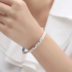 S999纯银手镯女款满天星银镯子时尚足银饰品手环送女友礼物 29.48g 女款