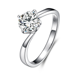 【可定制】白18K金鉆戒女鉑金鉆石戒指正品求婚結婚戒指裸鉆定制 白18k金16分/F/VS/