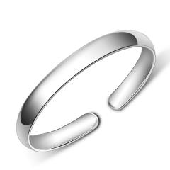 银手镯S999银 女光面开口 足银手镯简约时尚 银镯子 36.23g 36.23g 女款