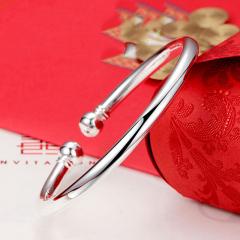 S999純銀手鐲女款開口蒜頭圓光面銀鐲子送足銀飾品手環 42.45g