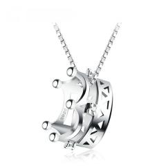 項鏈女 日韓版s925純銀立體皇冠公主吊墜配飾 短款鎖骨鏈送女友