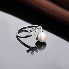 S925纯银正品 指环韩版女时尚皇冠镶钻 天然淡水珍珠开口戒指