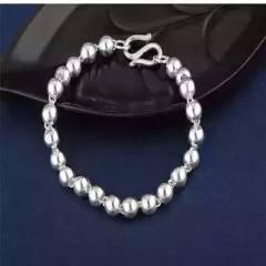 银手链女圆珠990转运珠银手镯串珠情侣款手链?#27426;?0.6