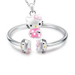 Hello Kitty银手镯 Hello Kitty银吊坠 套?#30333;?#38134;简约 送宝宝