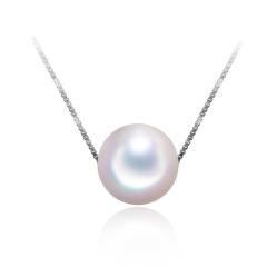 【心意】白色淡水珍珠吊坠 圆 简约气质 S925银链