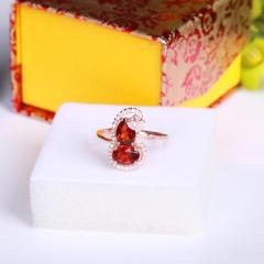 天然石榴石戒指 可爱葫芦 925银镀玫瑰金 5*7mm